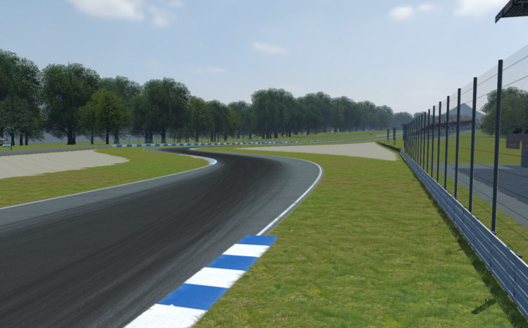 Classic double escape areas generated by Camilla on a wide chicane, with sand on both sides.